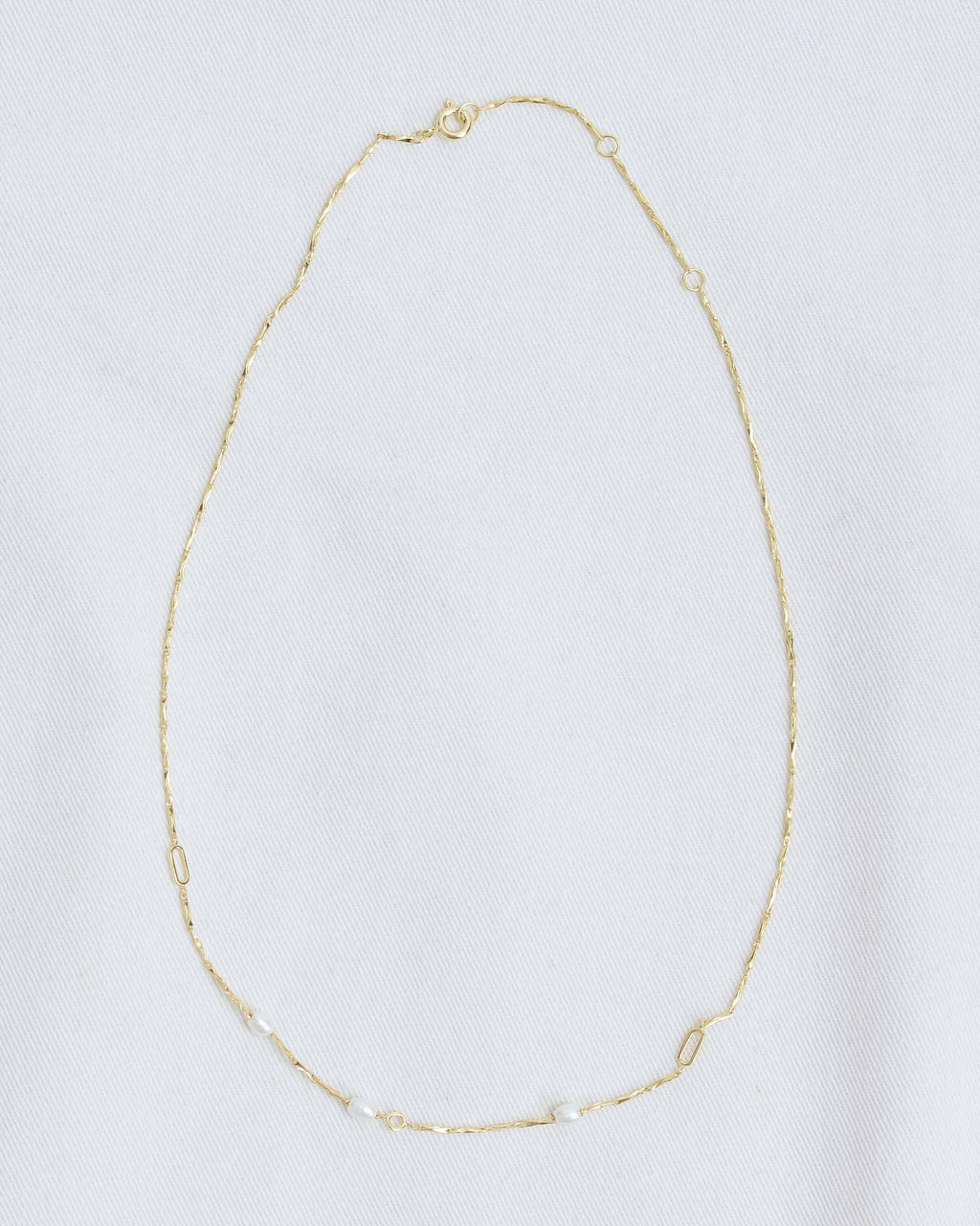 Gold Pearl Textured Chain Necklace
