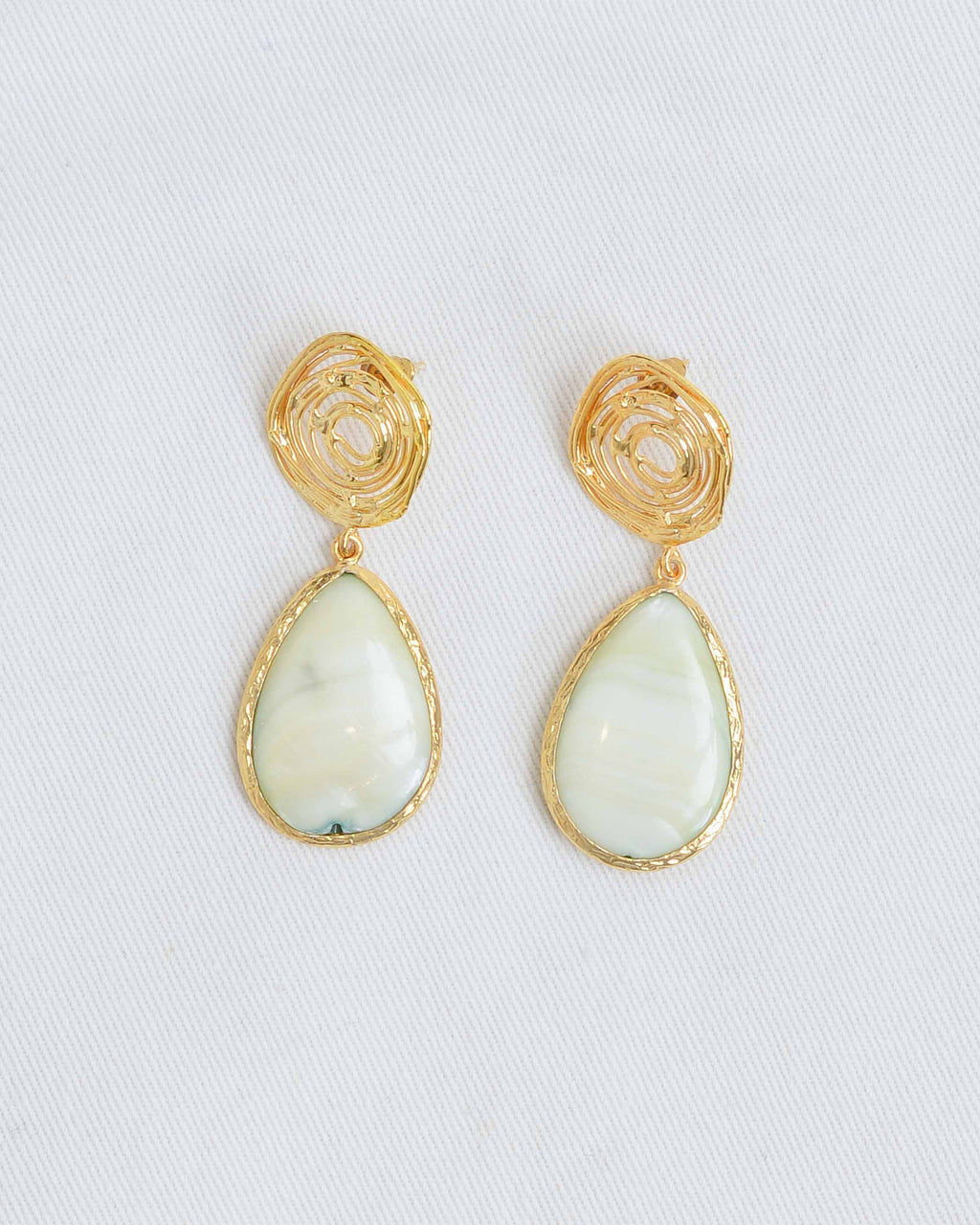 Gold Wire Mint Marble Stone Earrings