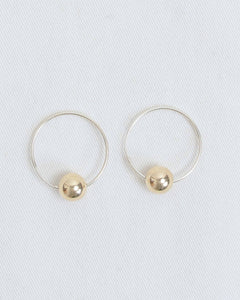 Gold Small Ball with Sterling Silver Medium Hoops