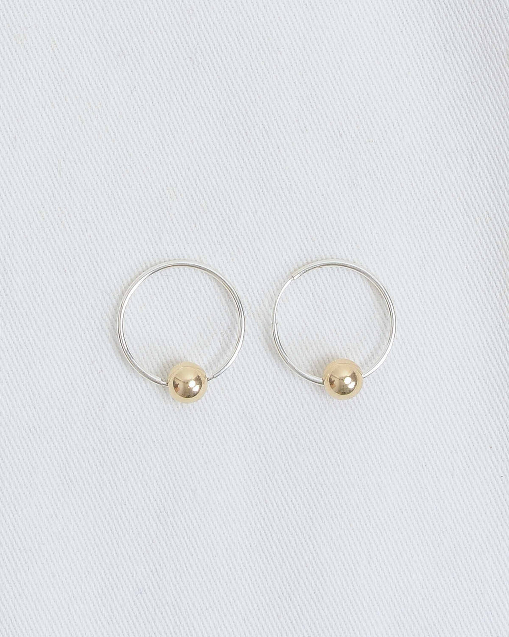 Gold Small Ball with Sterling Silver Small Hoops