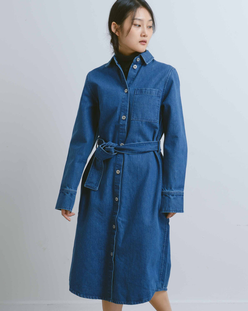 Denim Contemporary Shirt Dress