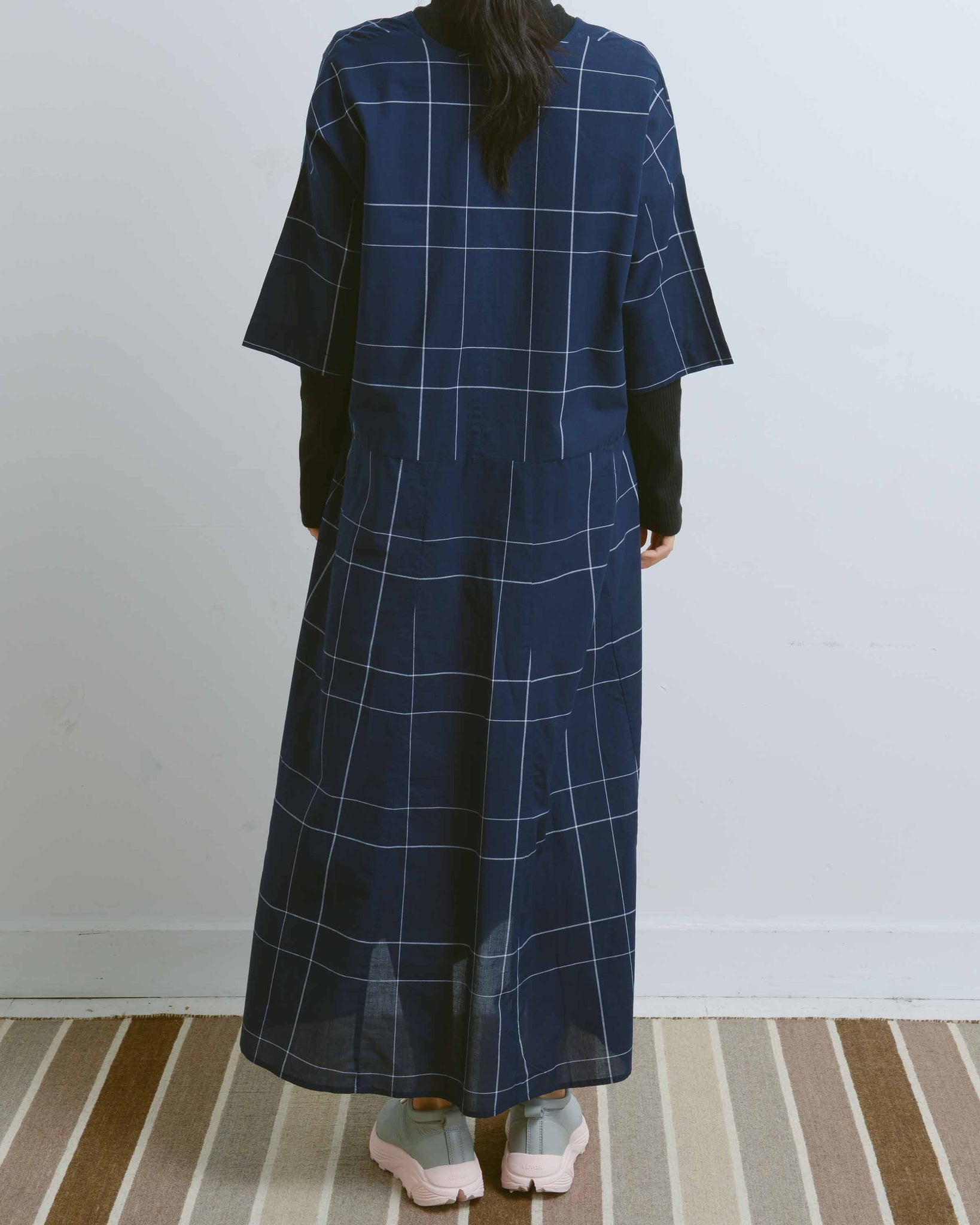 Navy Check Long Reflection Dress