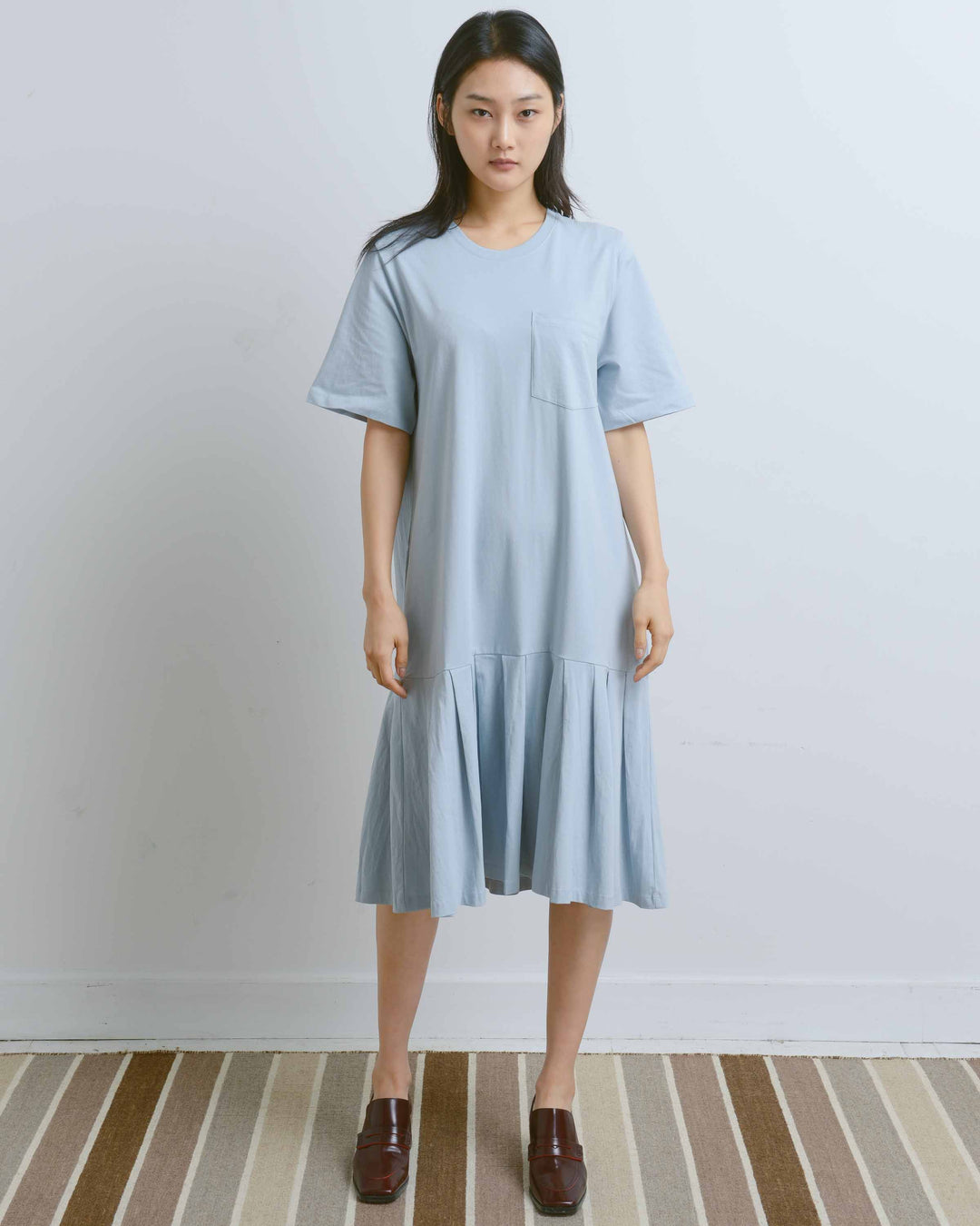 Blue Pleated T-Shirt Dress