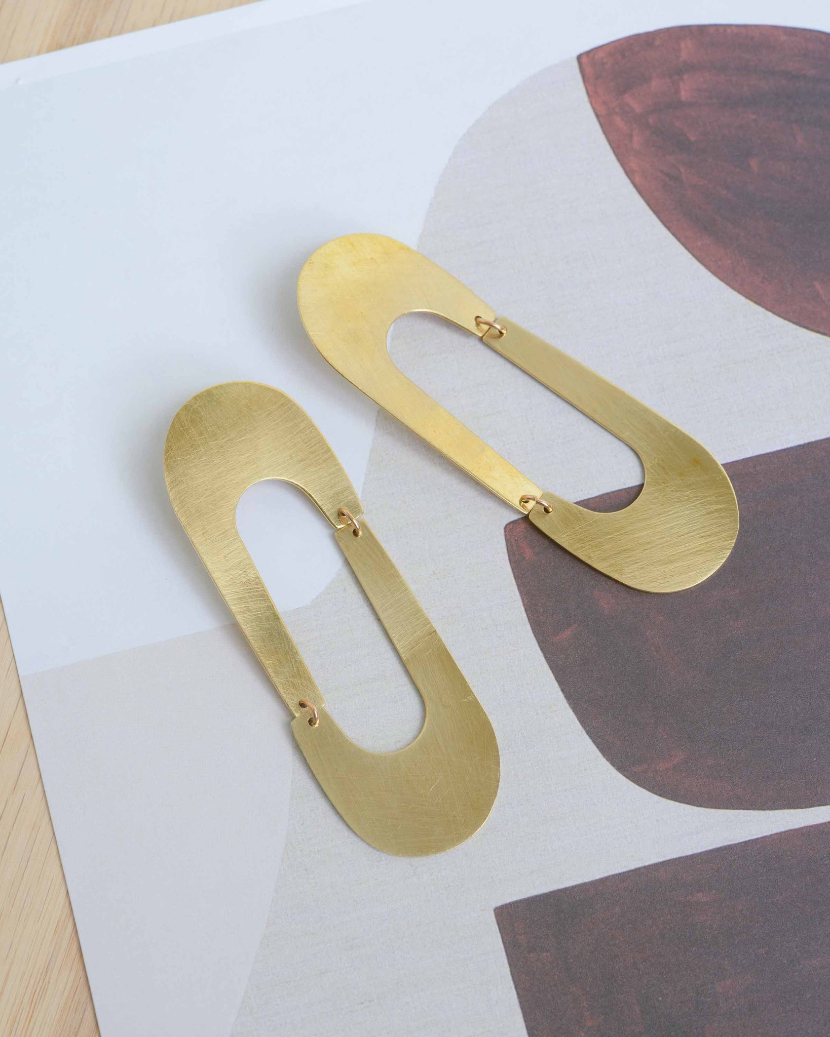 Brass Long Oval Earrings