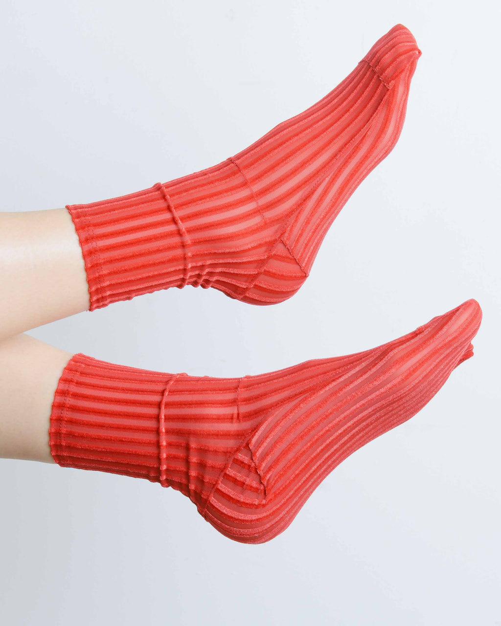 Red Ribbed Velvet Socks