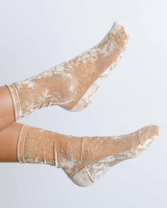 Beige Crushed Velvet Socks