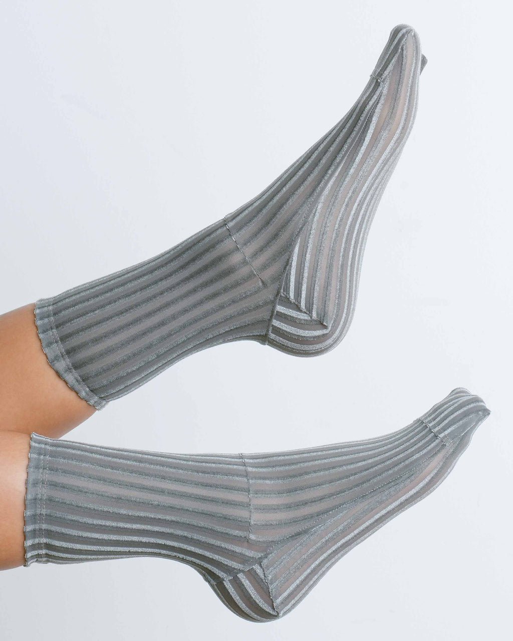 Grey Ribbed Velvet Socks