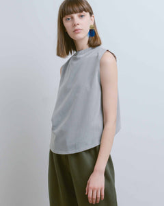 Grey Petal Dropped Arm Tank