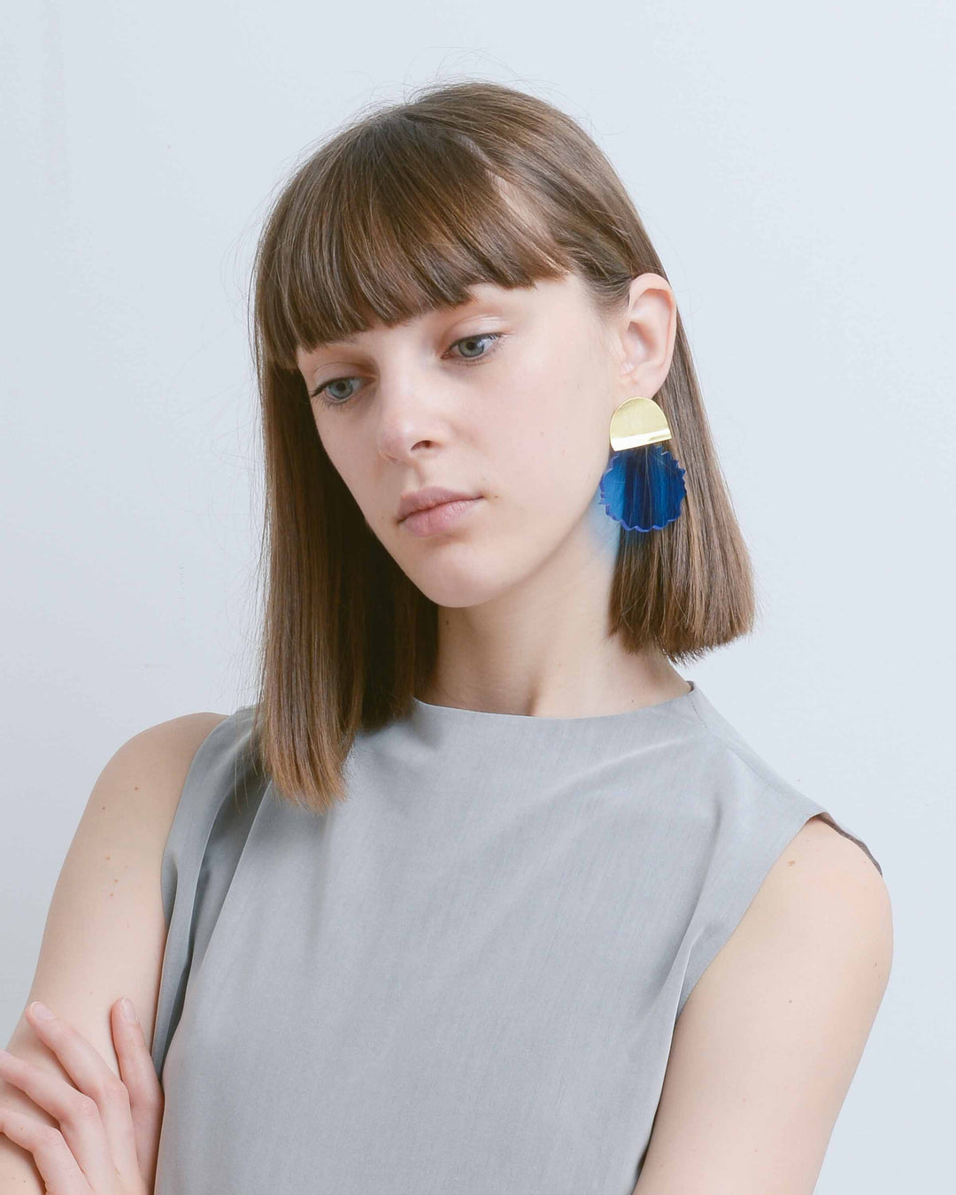 Blue Acrylic Water Drop Earring