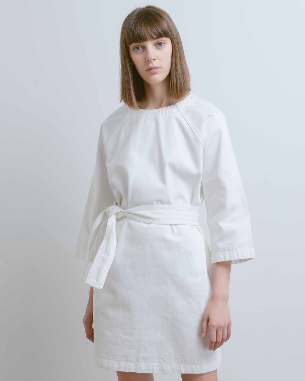 White Denim Technique Dress