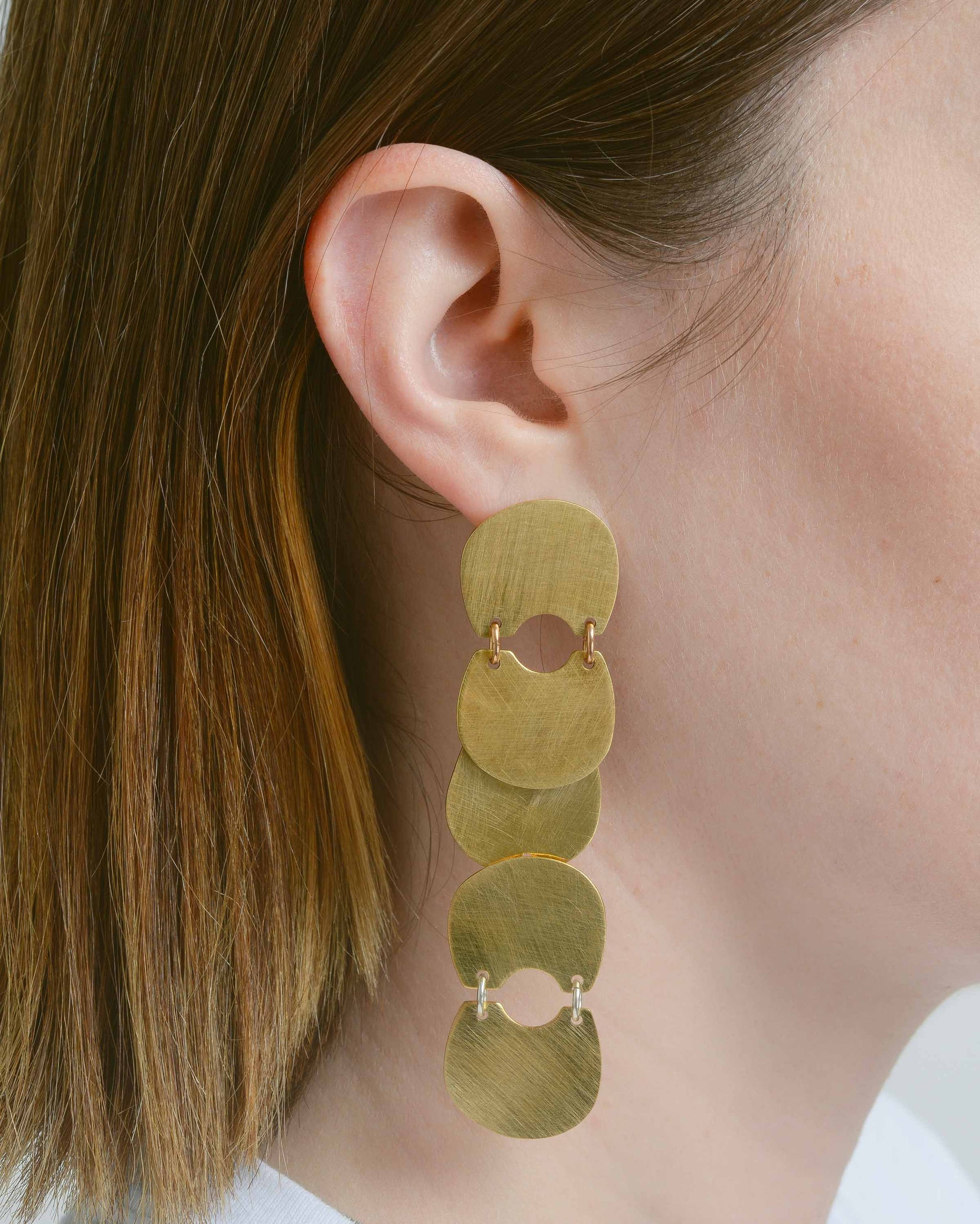 Brass Connected Earrings