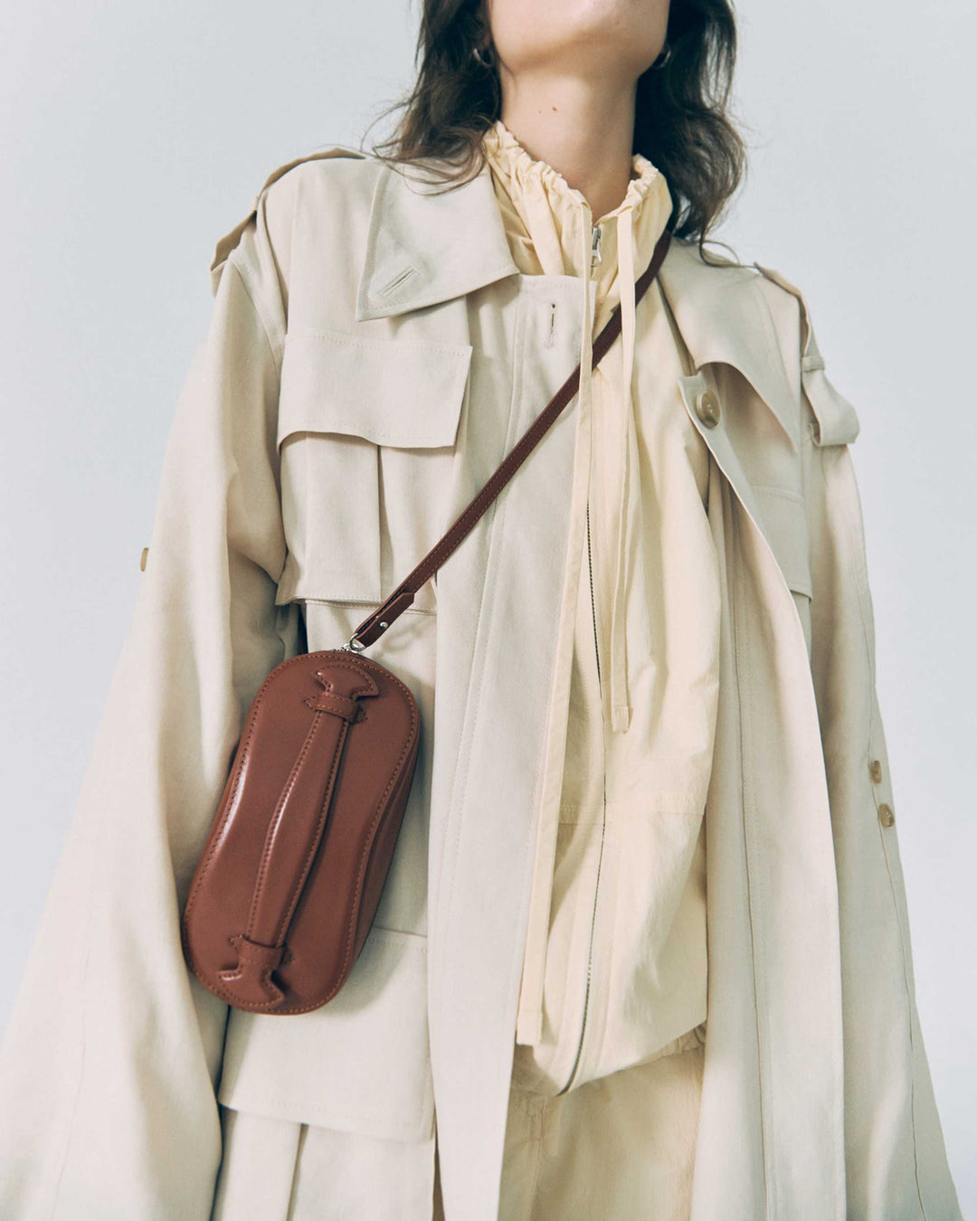 Cream Low Collar Pocket Trench