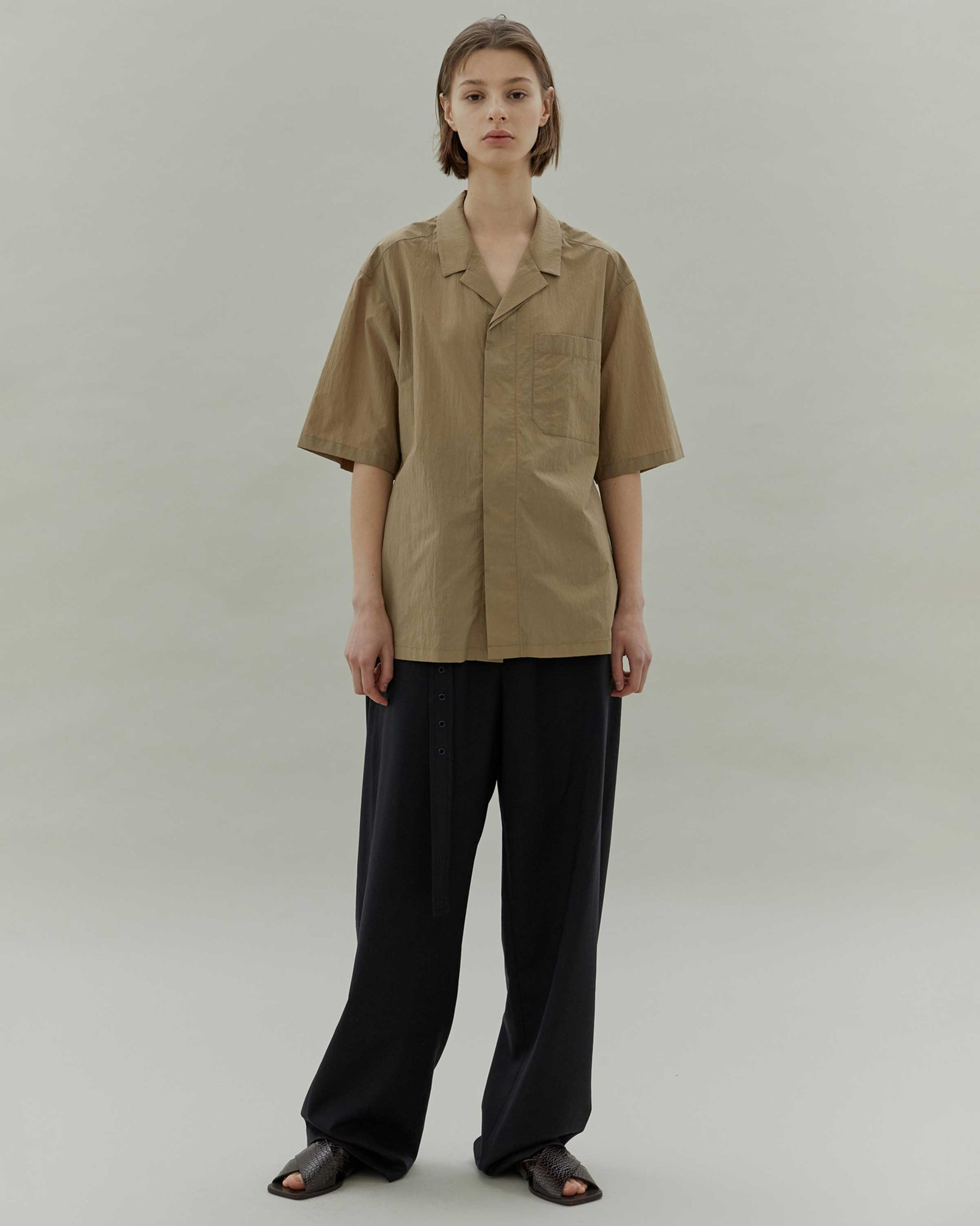 Khaki Open Collar Shirt