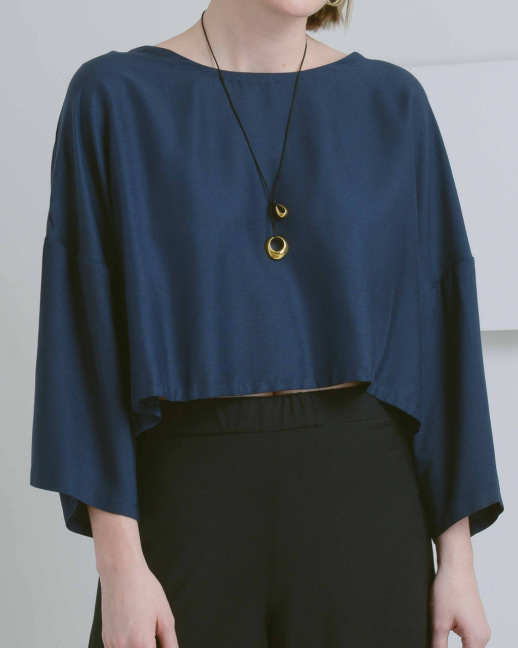 Blue Drop Sleeve Crop Top