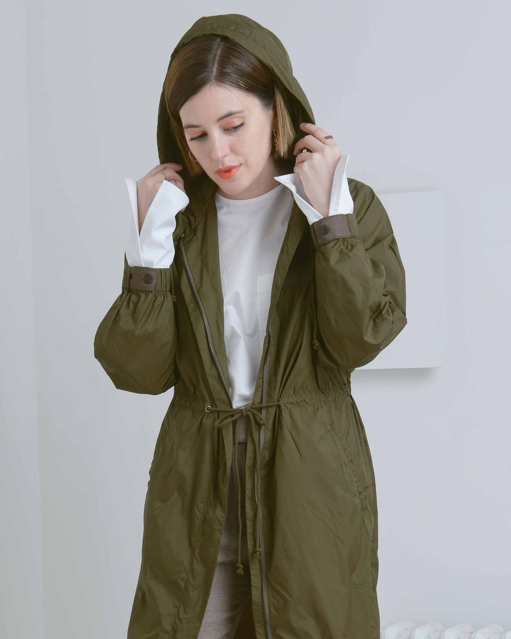Olive Green Hooded Anorak Jacket