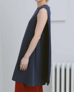 Navy Sleeveless Overlap Dress