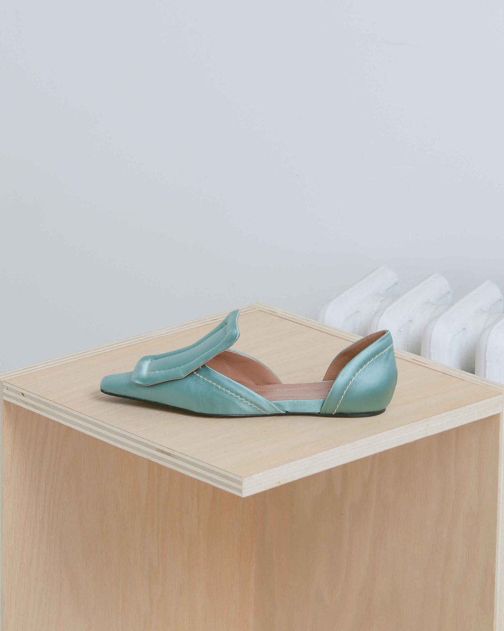 Green Satin Moccasin D'orsay Flat