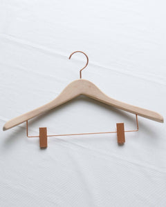 Natural Wood and Copper Finish Broad Shoulder Clothes Hanger