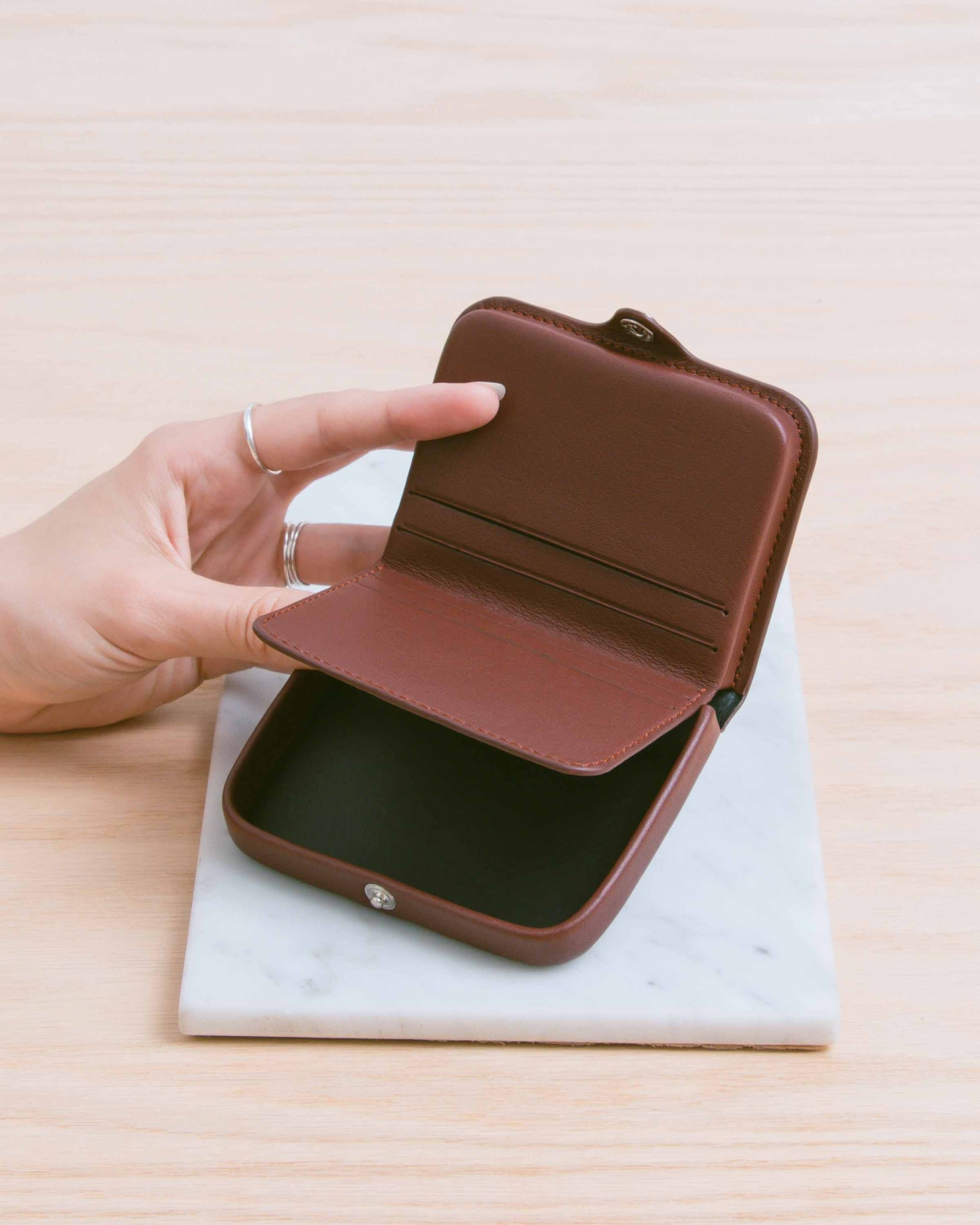 Burgundy Card and Coin Holder