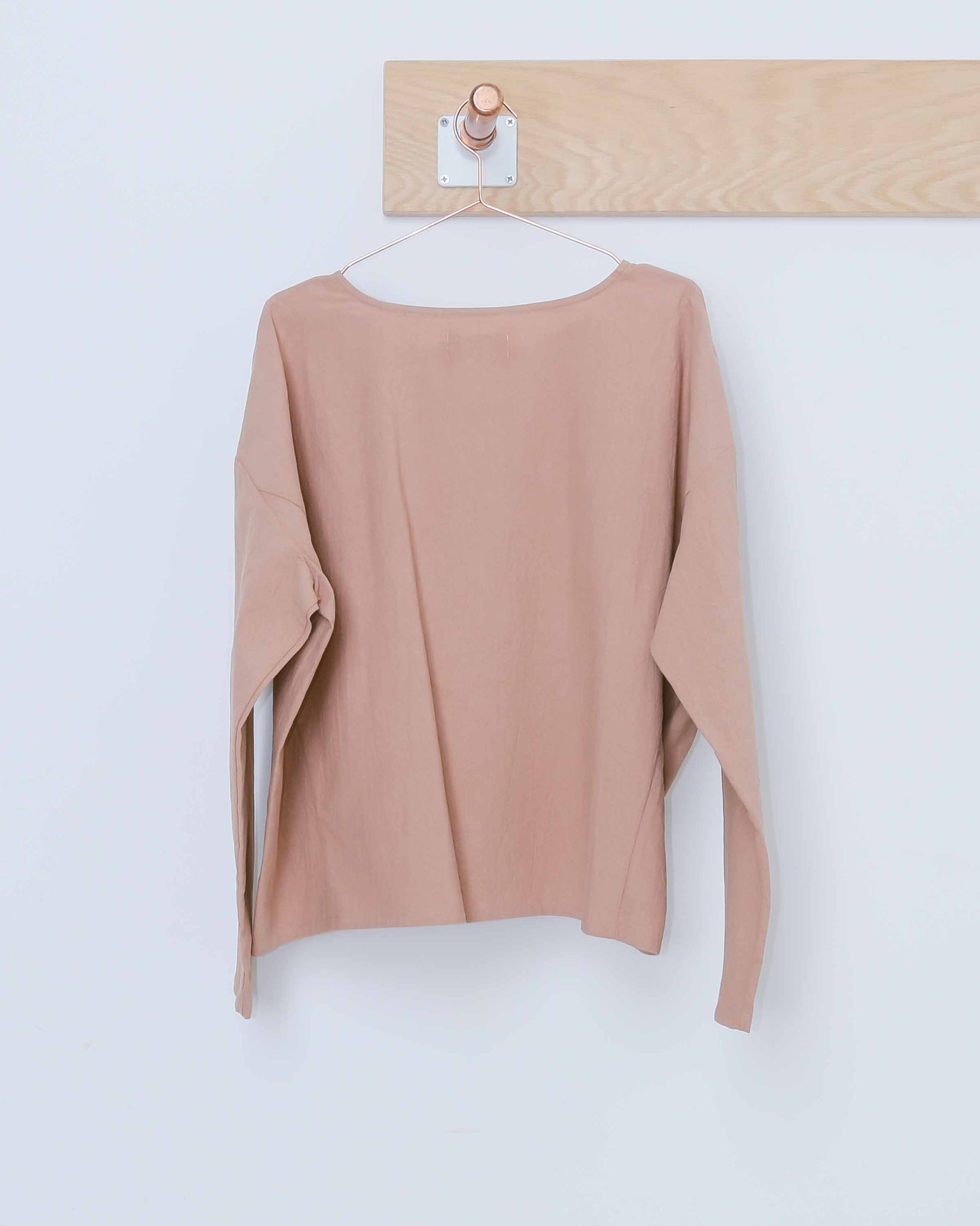 Nude Long Sleeve Textured Boxy Top