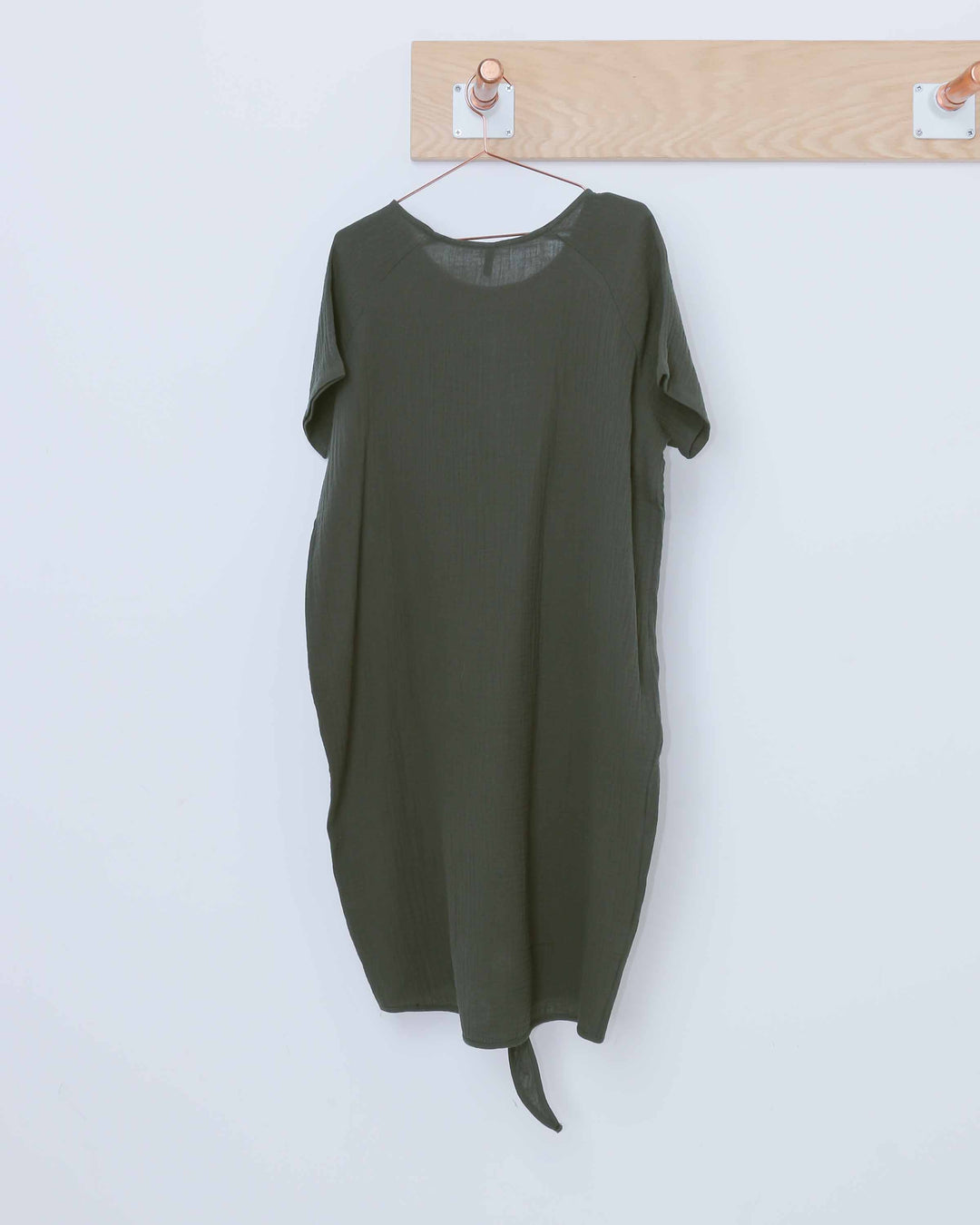 Textured Front Tie Balloon Dress