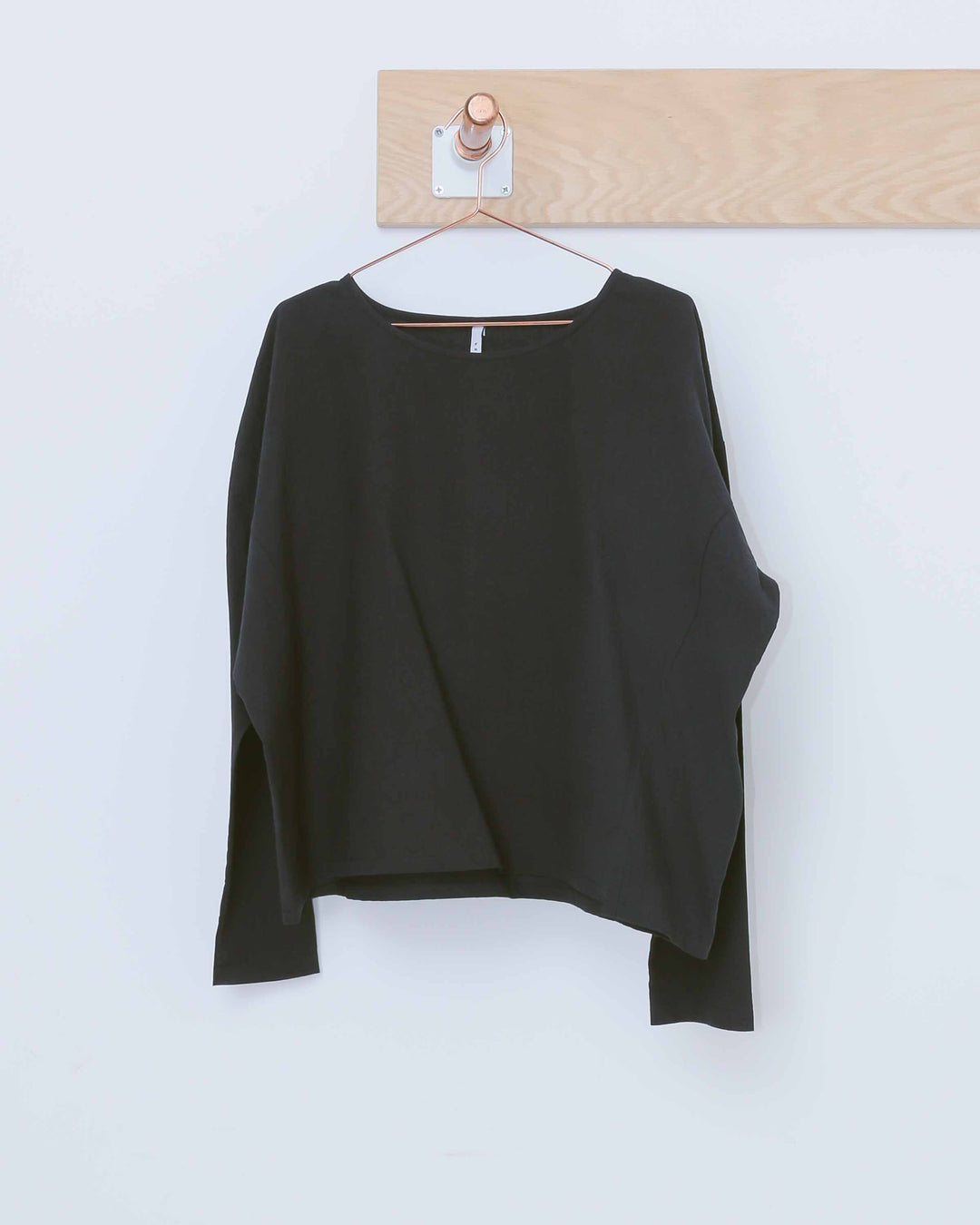Black Long Sleeve Textured Boxy Top