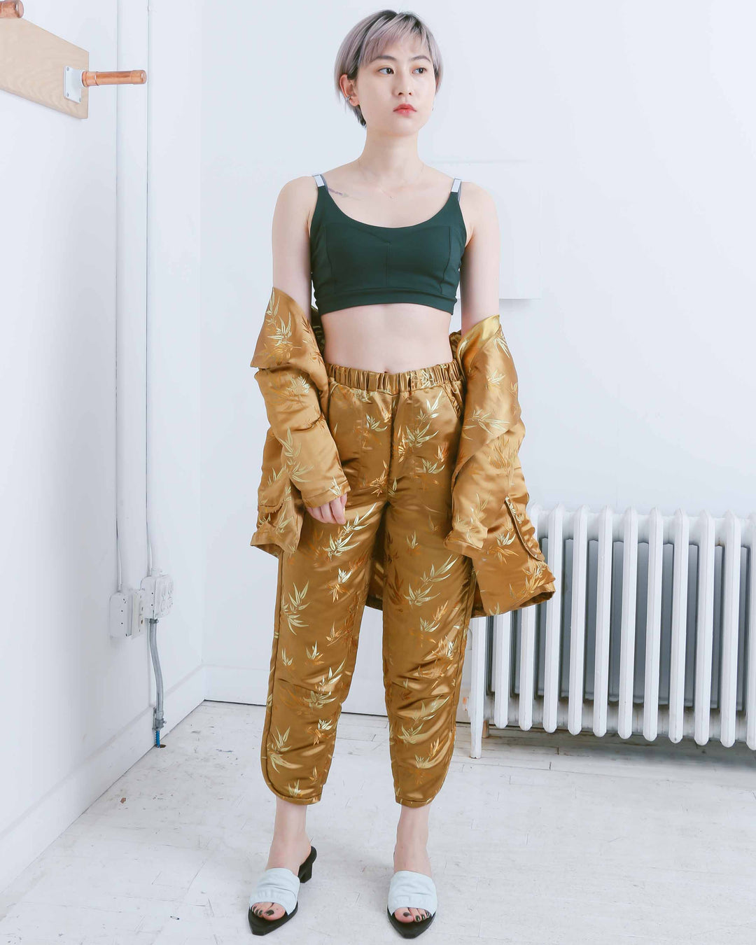 Gold Leaf Print Trouser