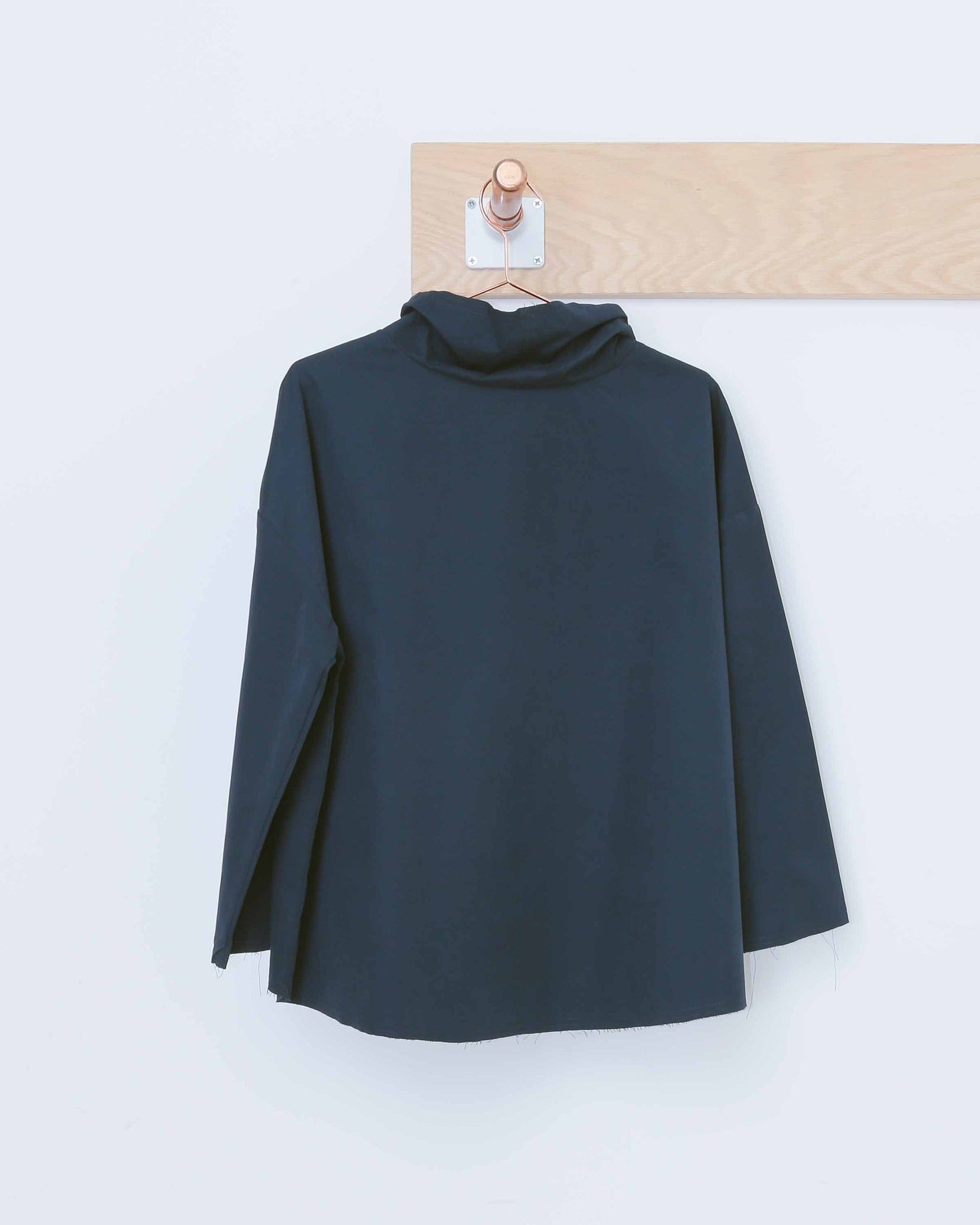 Navy Funnel Neck Top