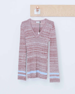 Brick & Periwinkle Deep V-Neck Sweater