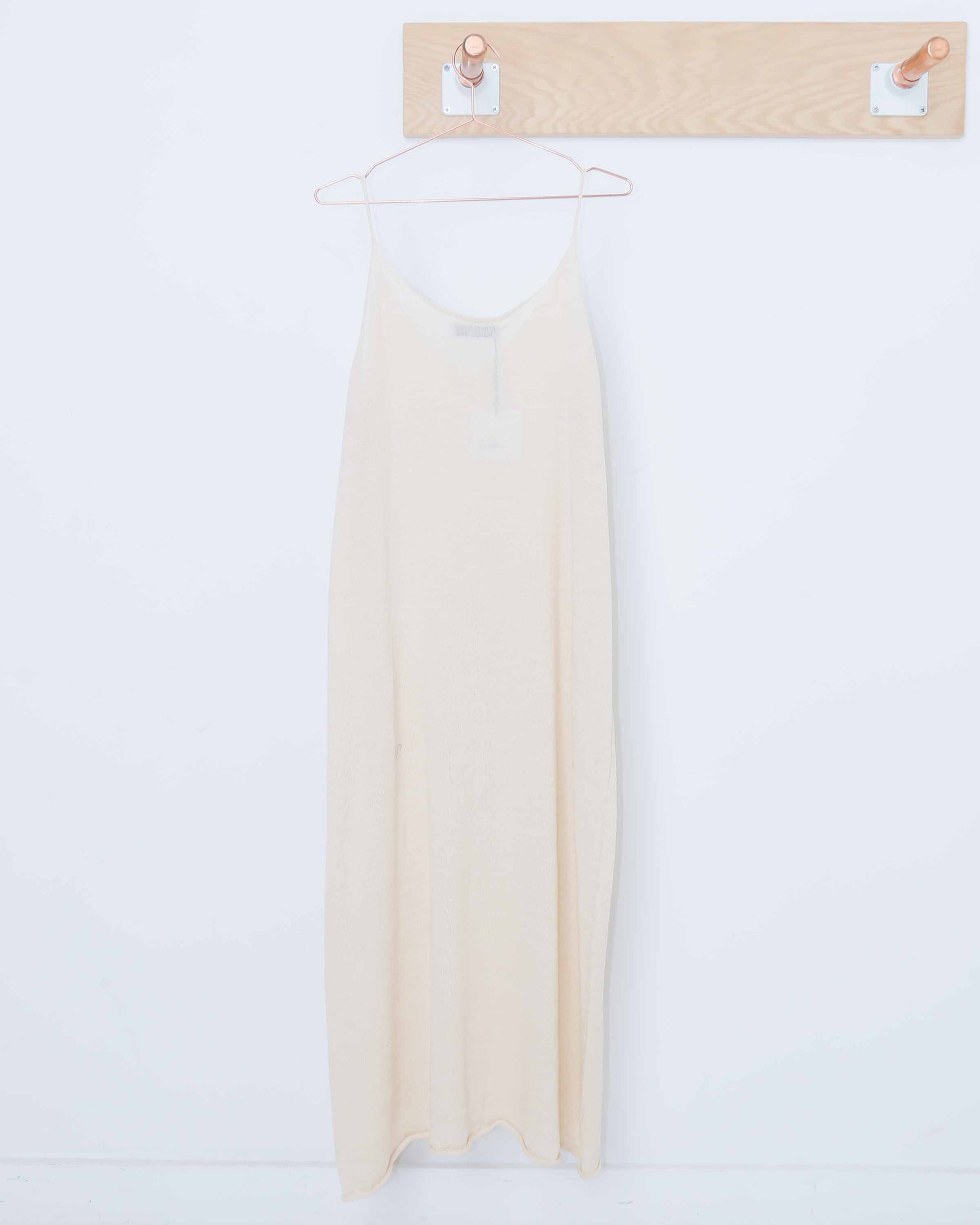 Khaki Linen Sleevess Knit Dress