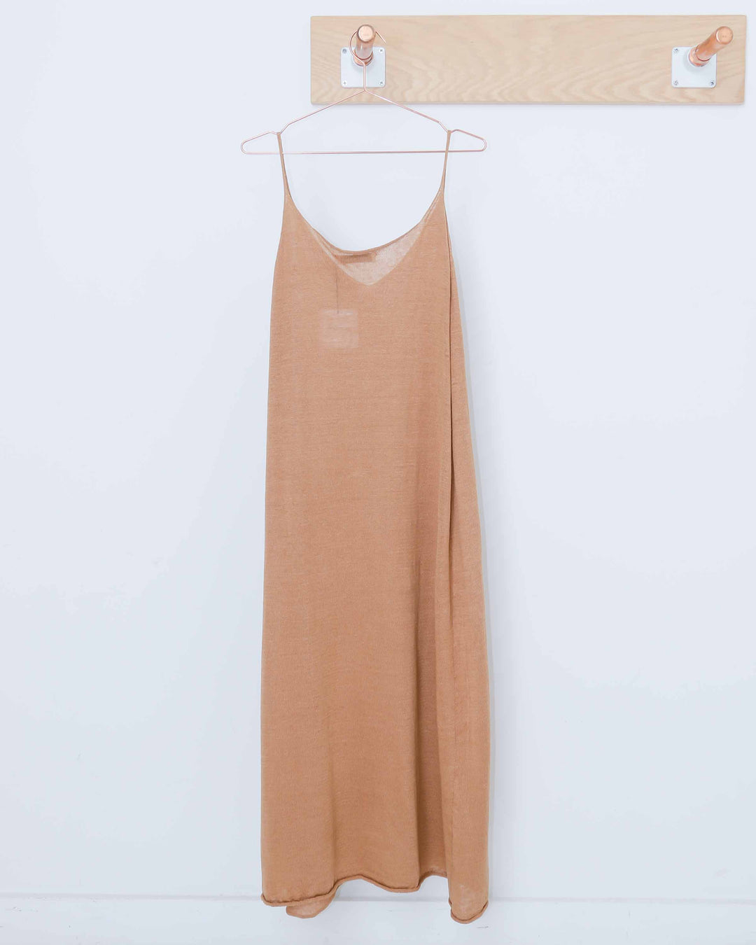 Brown Linen Sleeveless Knit Dress