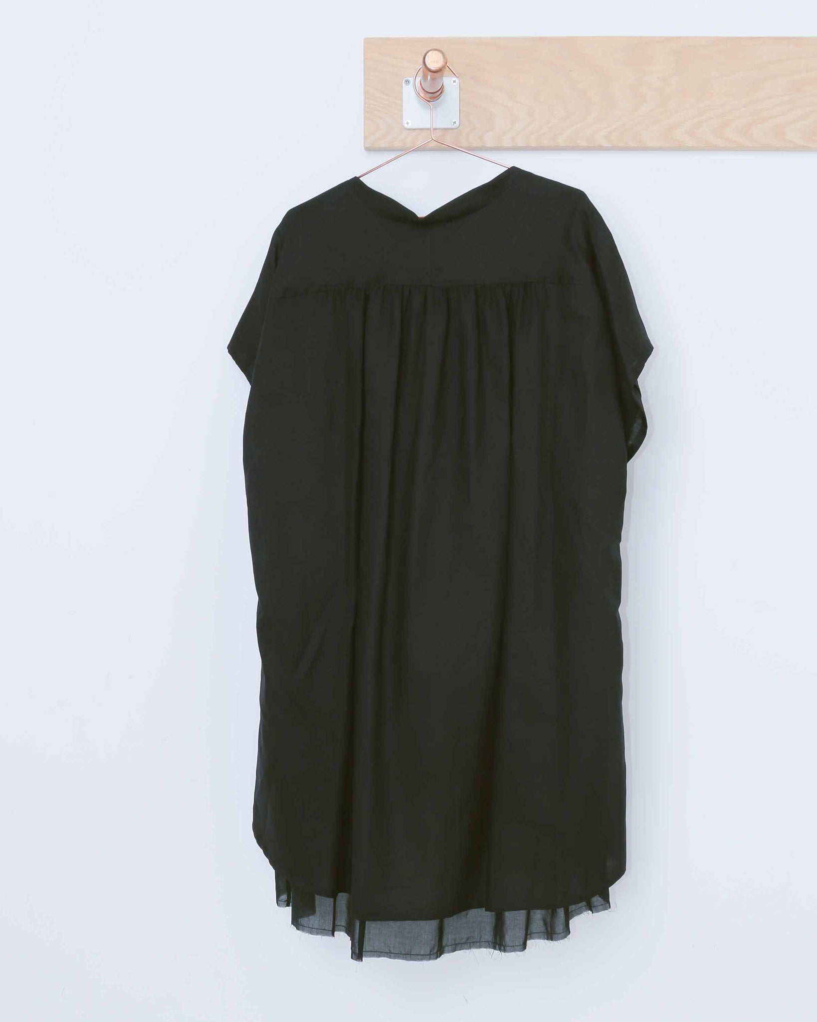 Black Linen Tunic Double Top