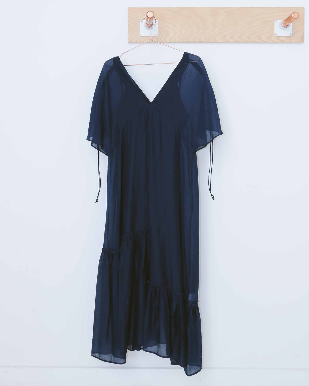 Navy Light V-neck Sheer Dress