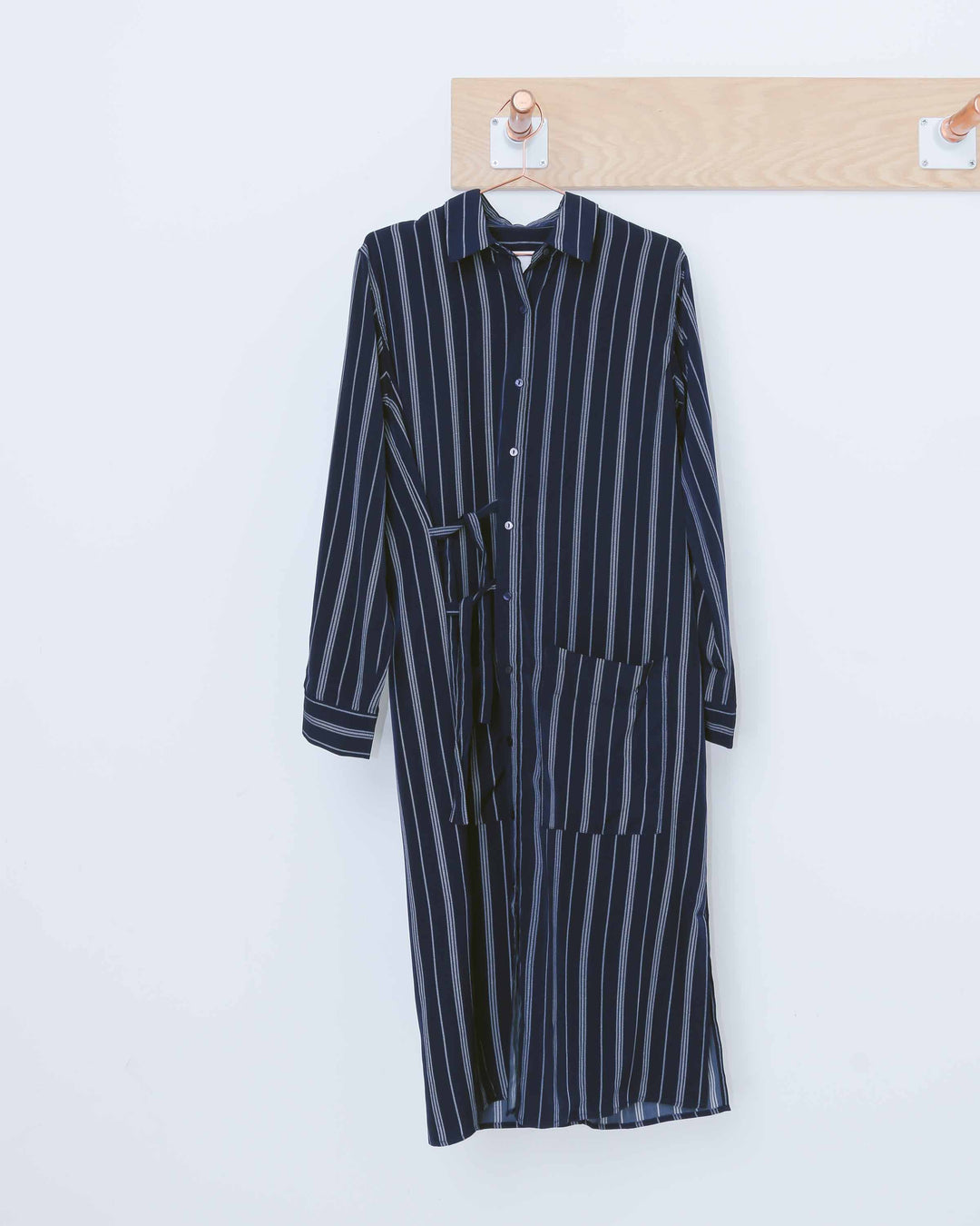 Navy Striped Button Down Duster