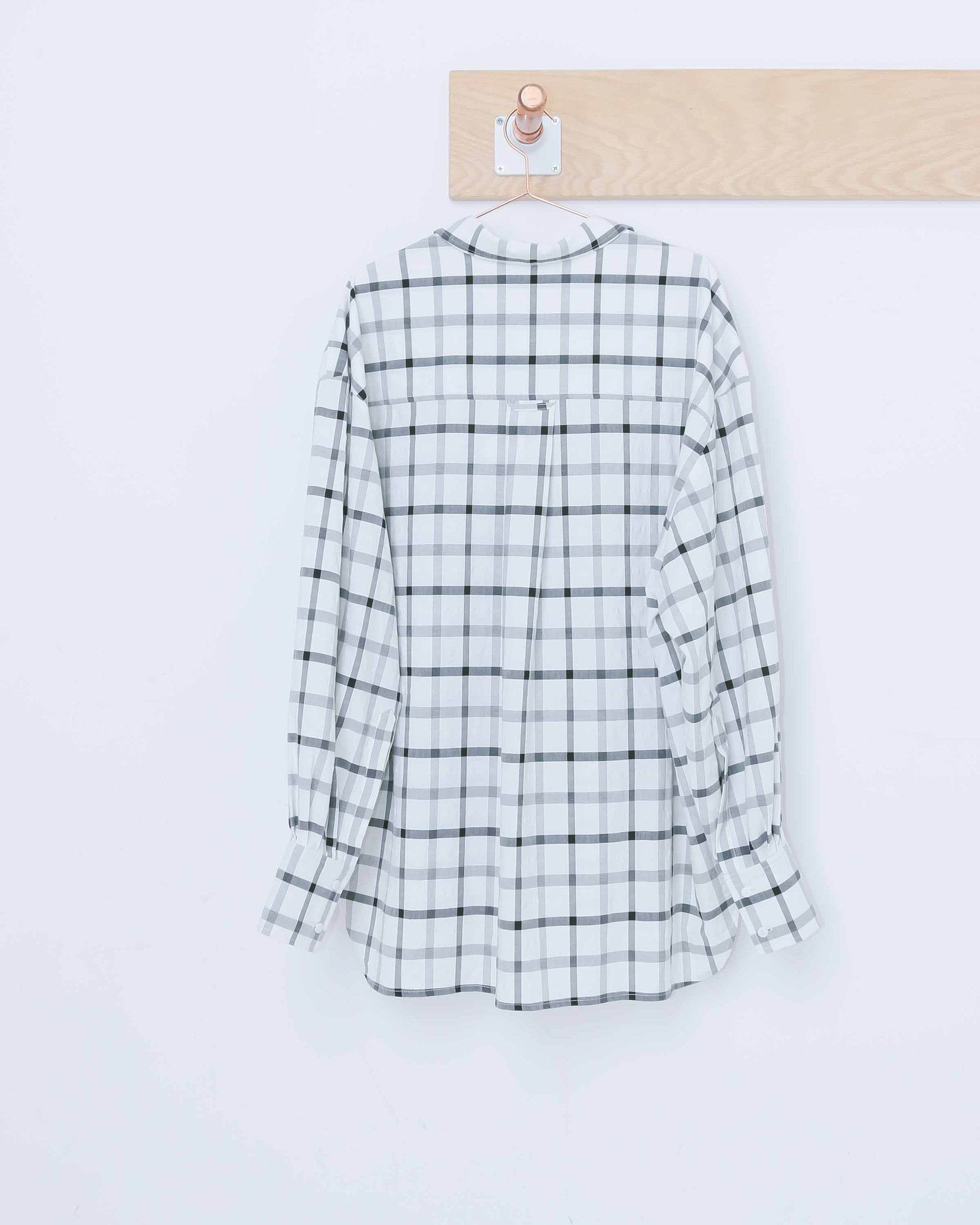 Cream & Black Oversized Plaid Shirt