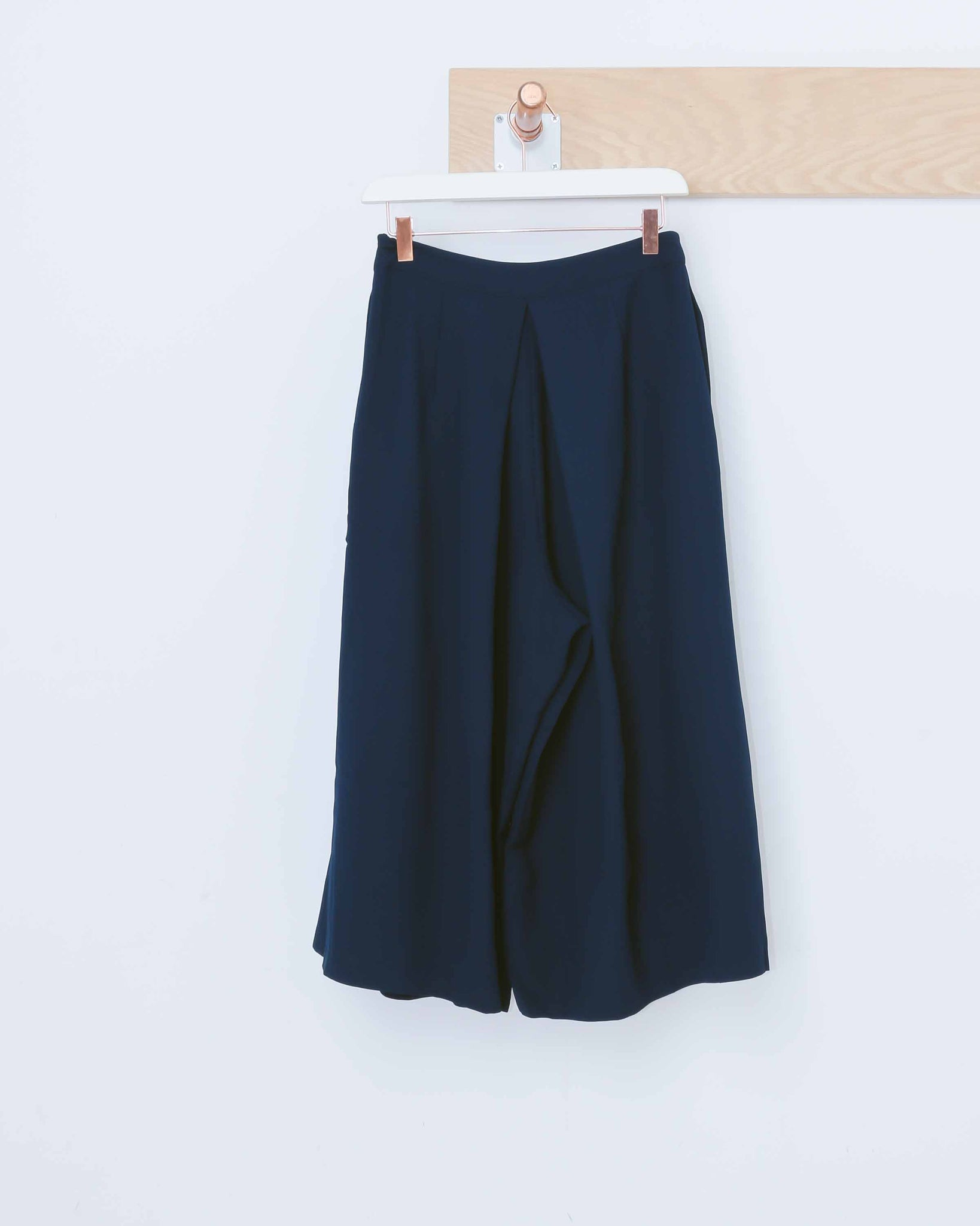 Navy Pleated Wide Leg Culottes