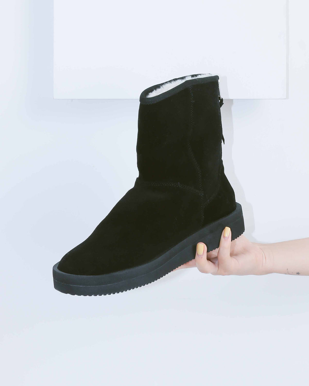 Black Suede Fur Lined Boot