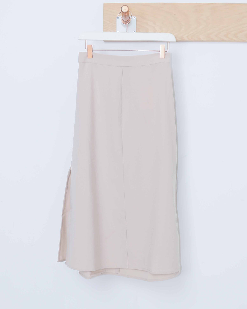 Beige Side Slit Maxi Skirt