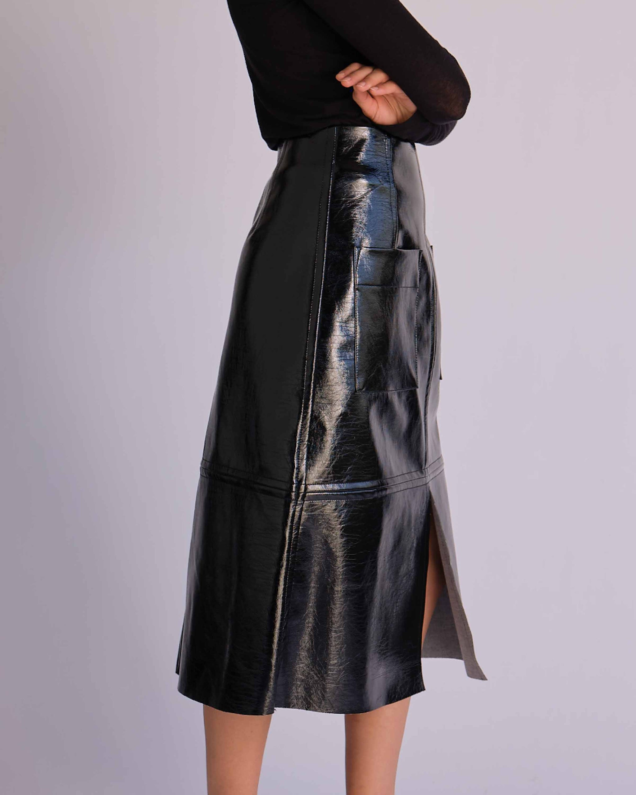 Black Patent Faux Leather Skirt