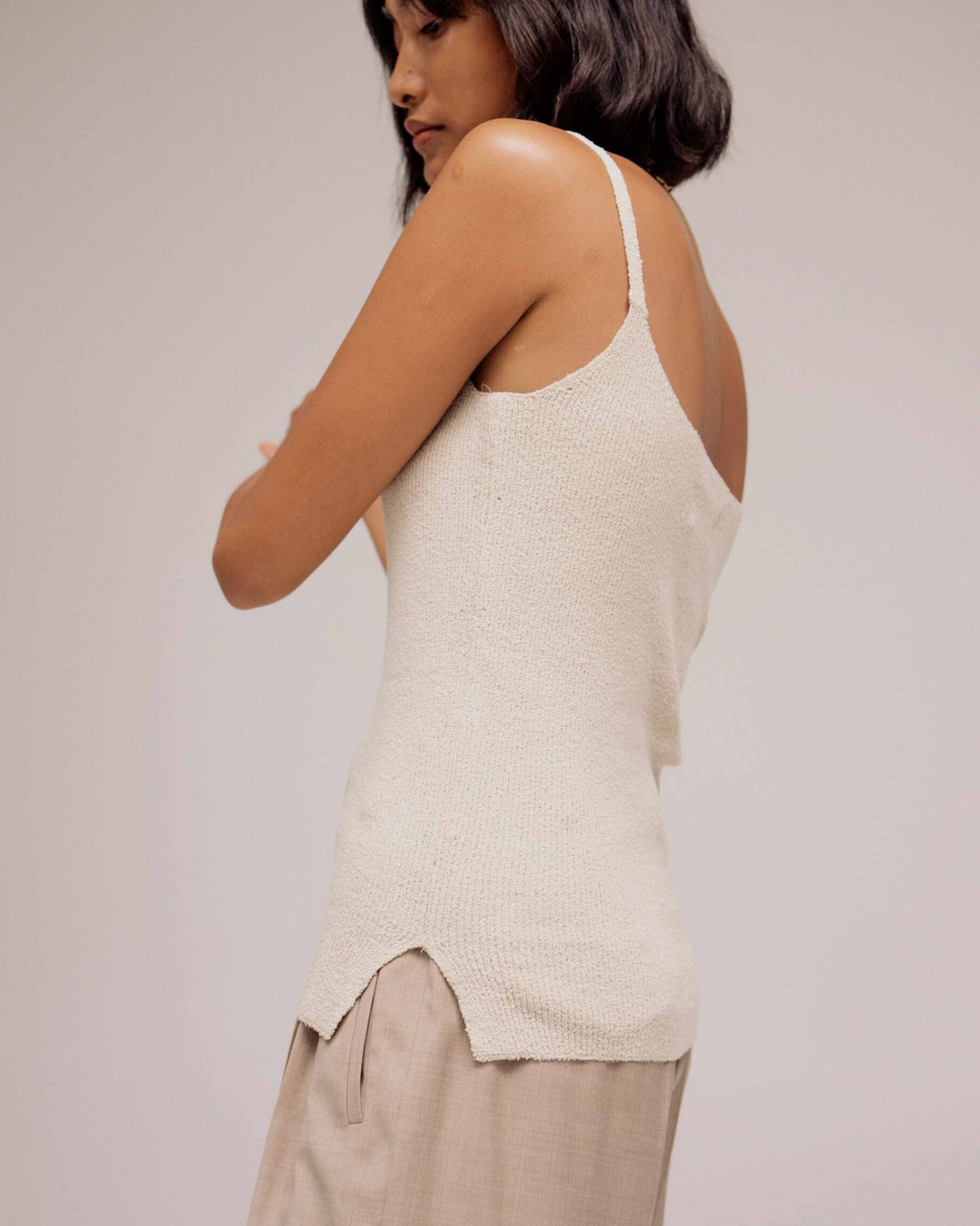 Oatmeal Thin Ribbed Sleeveless Knit Top