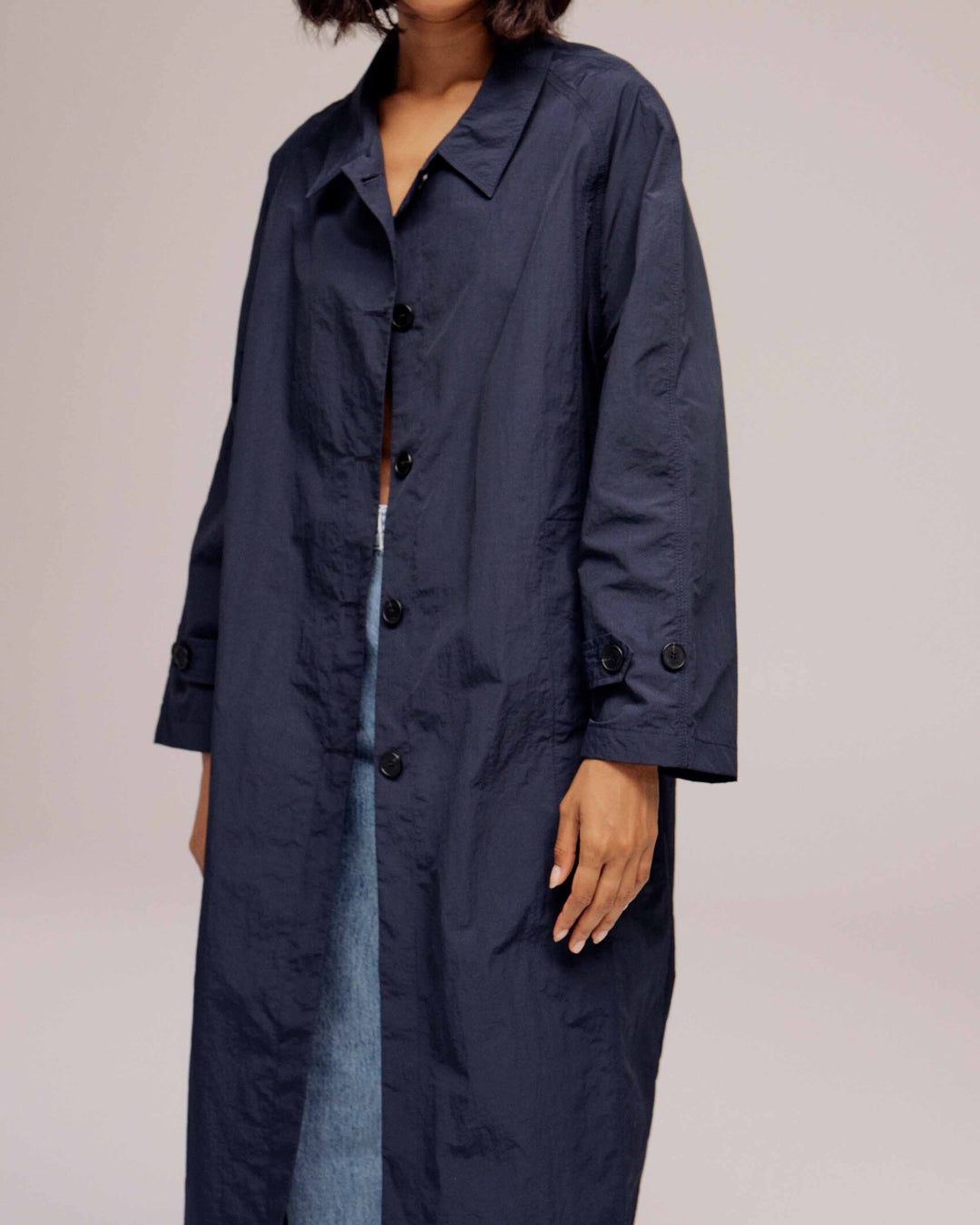 Navy Light Weight Belted Trench