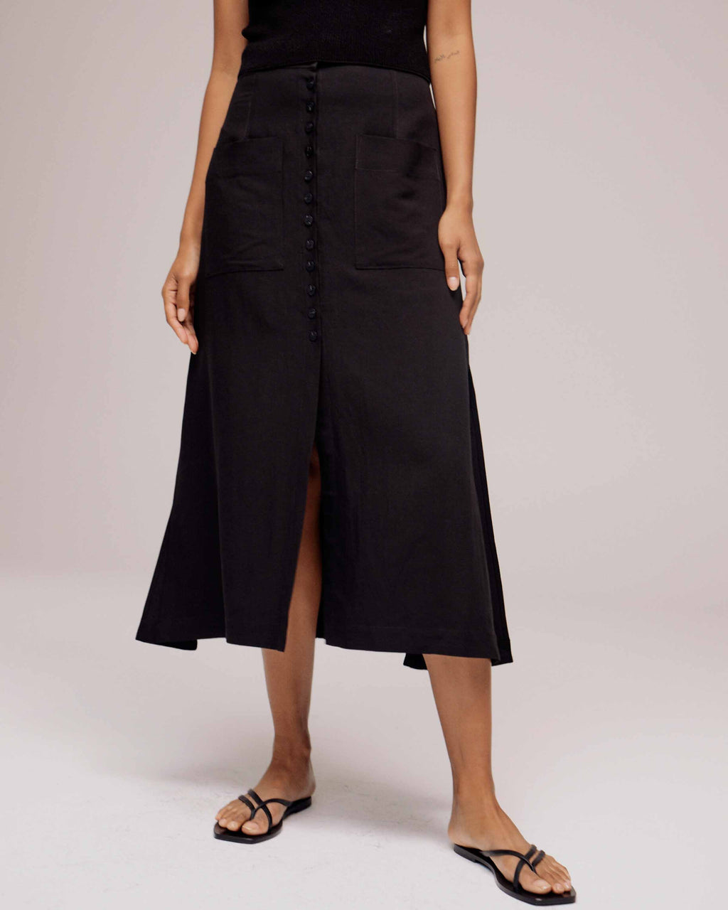 Black Button Front Maxi Skirt