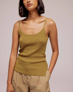 Olive Thin Ribbed Sleeveless Knit Top