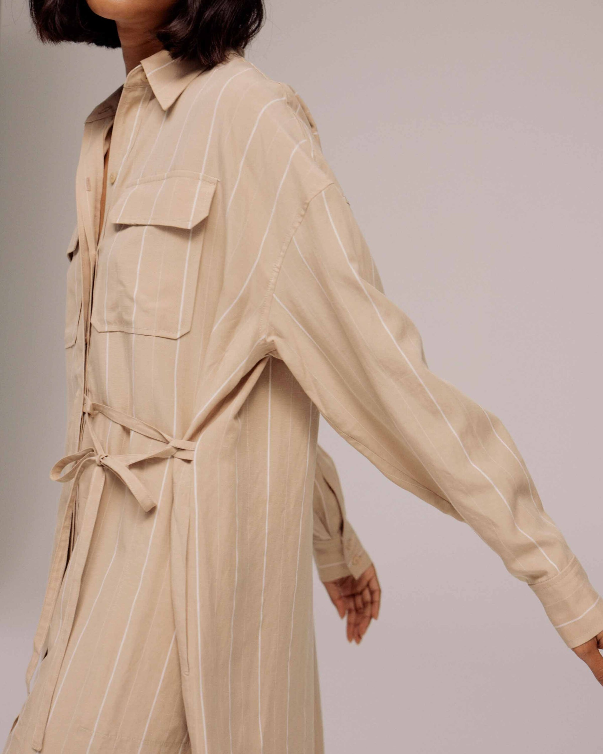 Beige Stripe Oversized Shirt Dress