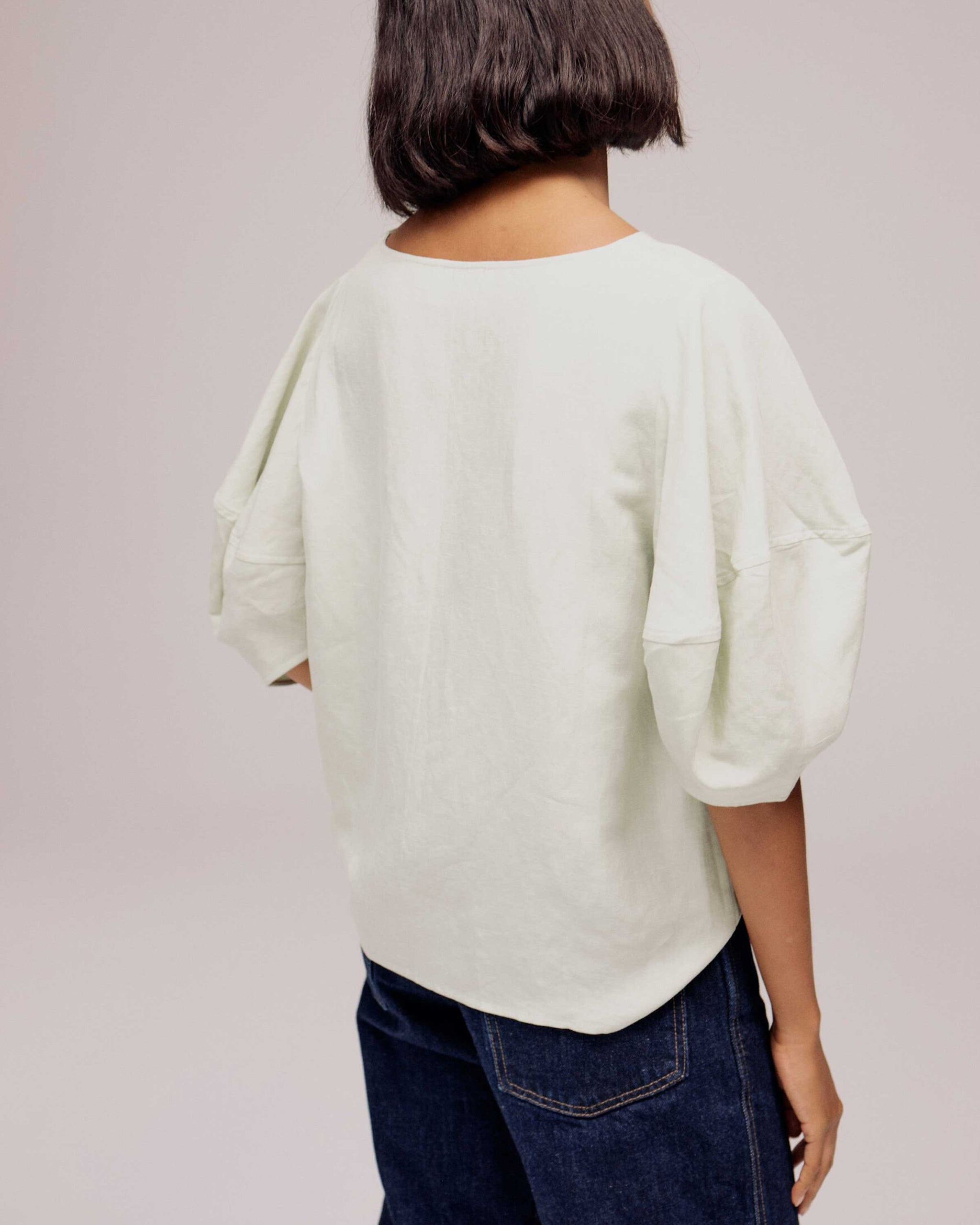 Mint Balloon Sleeve Top