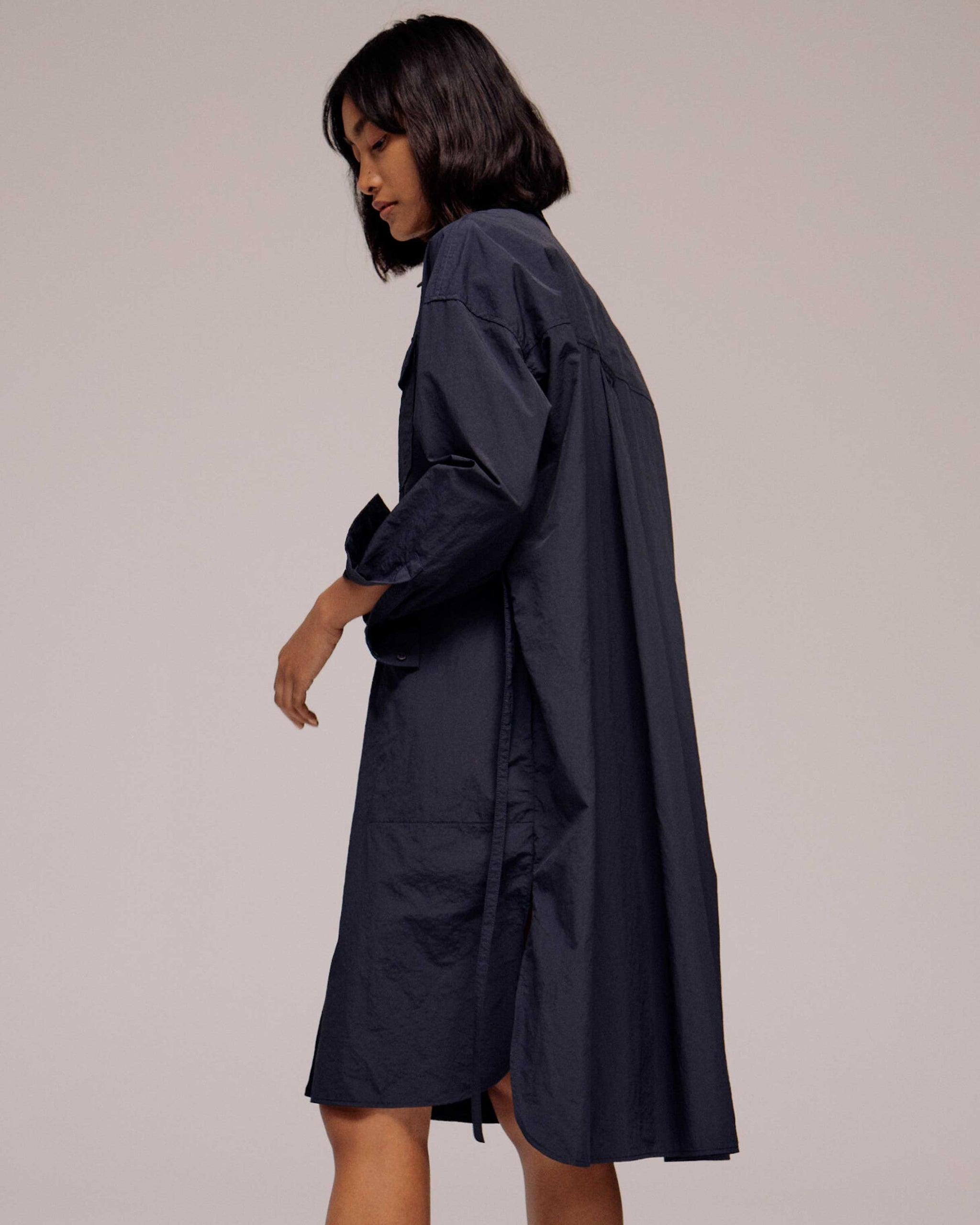 Navy Oversized Shirt Dress