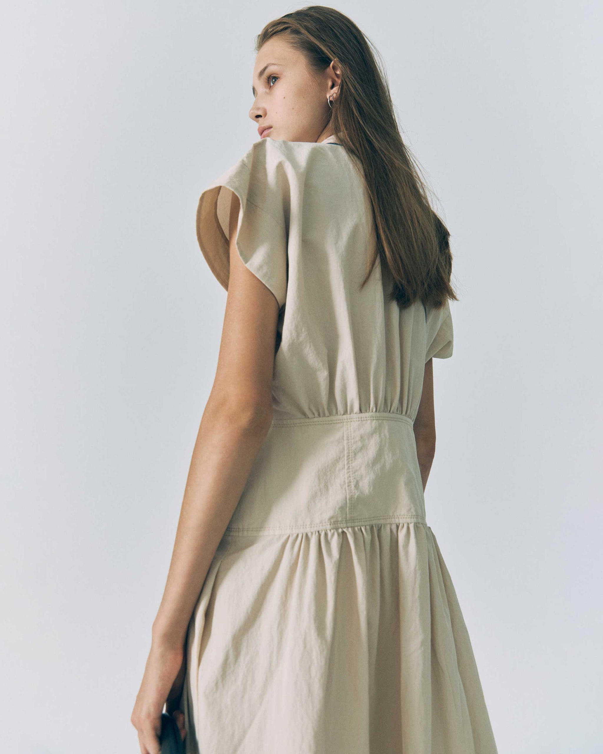 Light Beige Waist Shirring Dress