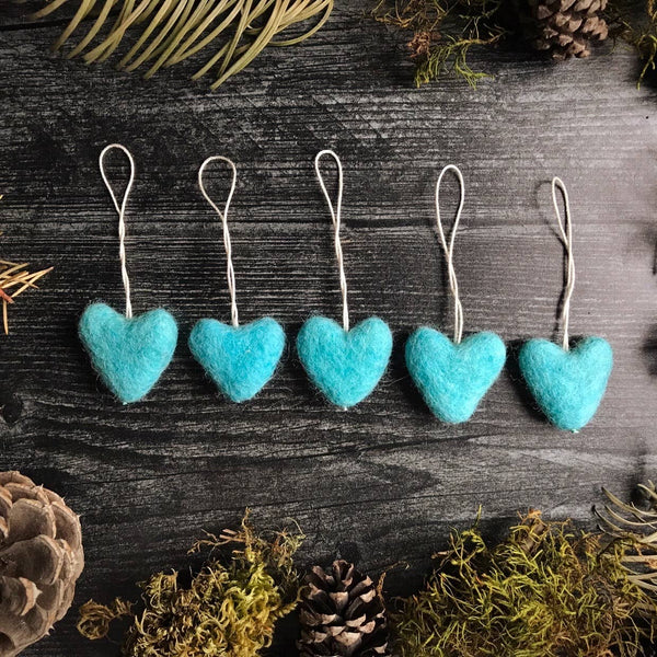 Felted heart ornament—blue