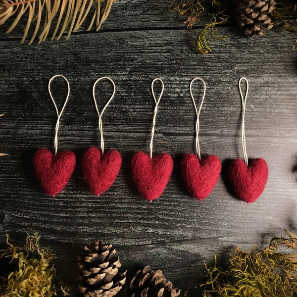 Felted heart ornament — sangria red