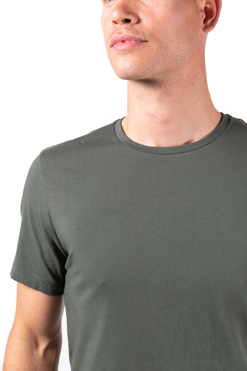 Men's crew neck army green
